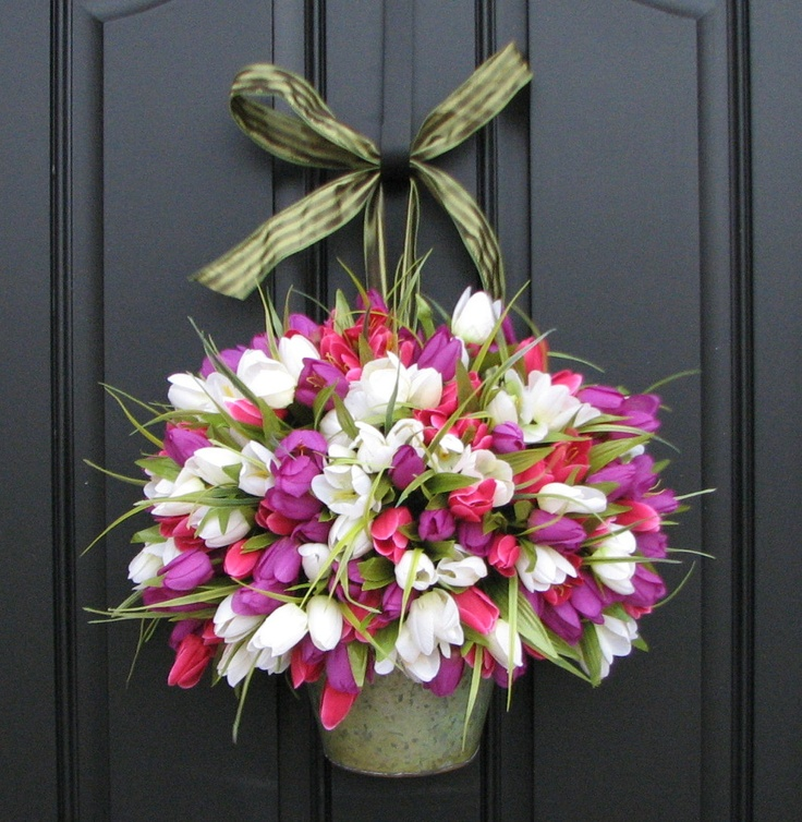 Reserved   Spring Tulips   Farmhouse Tulips   Front Door Decor