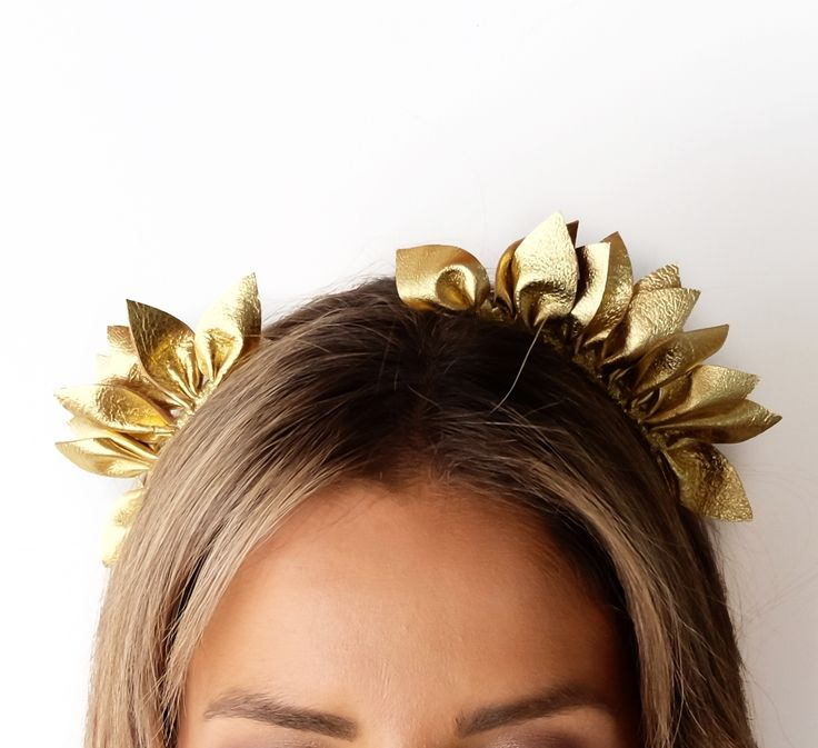 MINT AND MELON LEATHER HEADPIECE- Metallic Gold Leather Headpiece - Eclipse Spring Races 2017