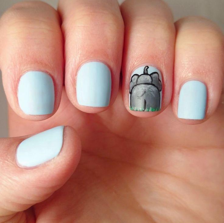 Elephant bum nail art using Rimmel London