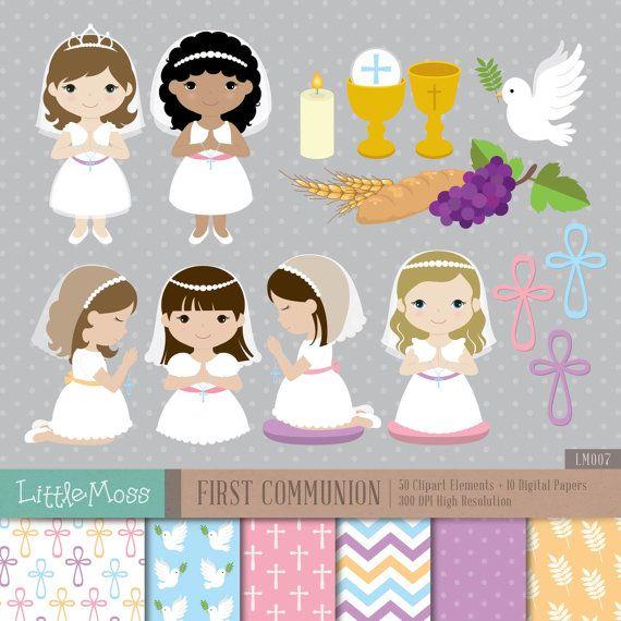 Girl First Communion Digital Clipart and Papers por LittleMoss