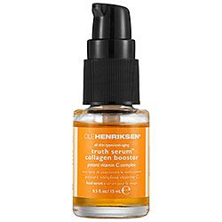 Ole Henriksen - Truth Serum® Vitamin C Collagen Booster #sephora-Oil Free mini 15.00  Formulated with a proprietary five-source vitamin C complex to support natural collagen production, brighten, and minimize fine lines, this must-have serum defends from environmental aggressors and free radical damage, leaving skin healthy and protected. It is enriched with green tea extract and sodium hyaluronate to nurture and nourish. This lightweight and oil-free formula quickly absorbs into skin ...