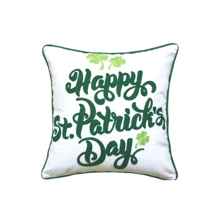 Details about Happy St Patrick's day Embroidery Clover Irish Decorative Throw Pillow Cover