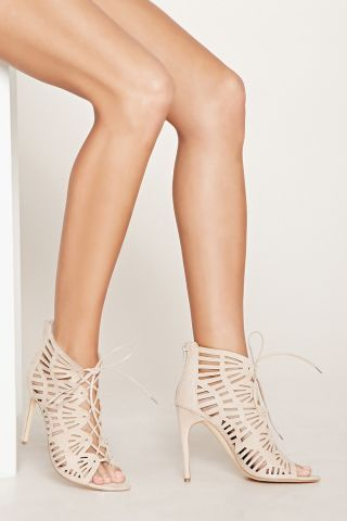 Sandale stiletto cu siret nude