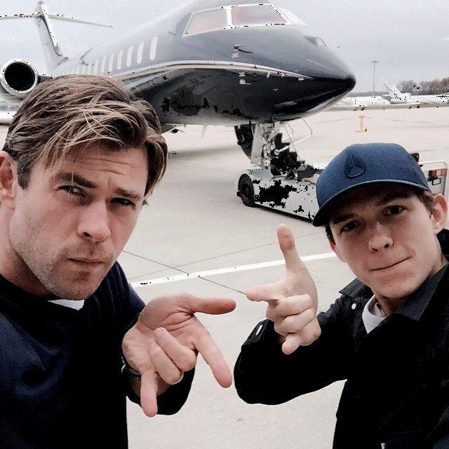 """Chris with Tom Holland( the new MCU Spider-Man promoting """"In the Heart of the Sea taken from instagram:""""  chrishemsworth Heading to Madrid with my mate Peter Parker for #intheheartoftheseapremiere @tomholland2013 """""""