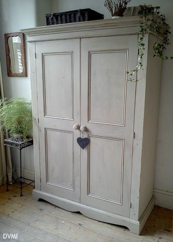 Pretty Painted Vintage Shabby Chic Knockdown Pine Wardrobe