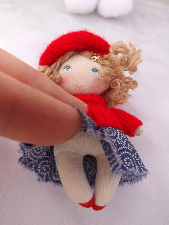 Small art fabric miniature dollhouse doll, collectible 3 inch doll, gift for her, mini rag doll, women gift, tiny cloth art doll, toy for doll This doll is handmade, the doll is 3-1/8 in (8 cm) high, it comes in hand! Fun gift for a girl from 3 to 99 years old! Size (3-1/8 in) 8 cm,