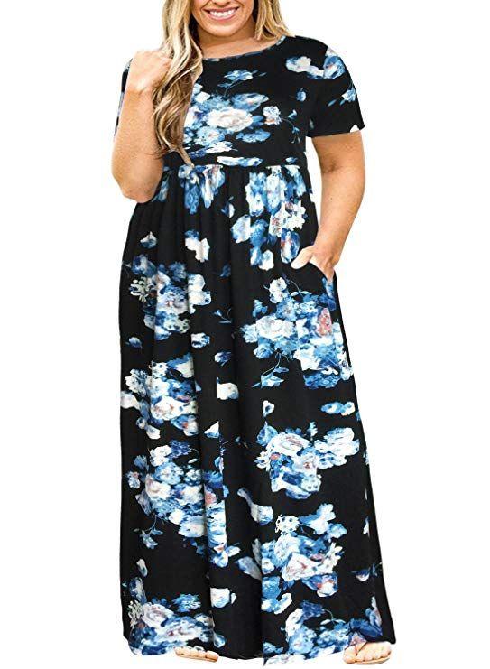 3dcfab34381 Nemidor Women Short Sleeve Loose Plain Casual Plus Size Long Maxi Dress  with Pockets (073