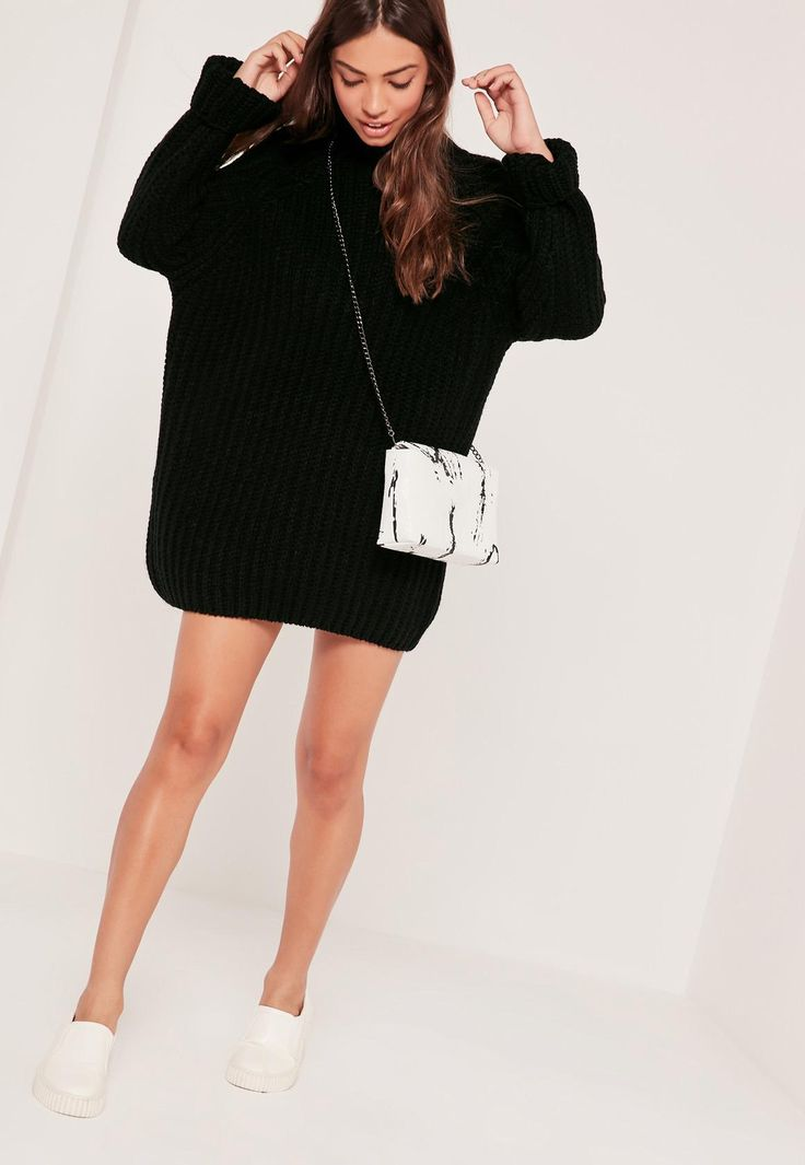 Missguided - Oversized Knitted Mini Dress Black