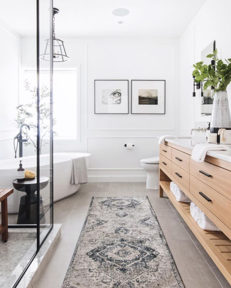 Modern Bathroom With Free Standing Tub Blue And Gray Floor Runner