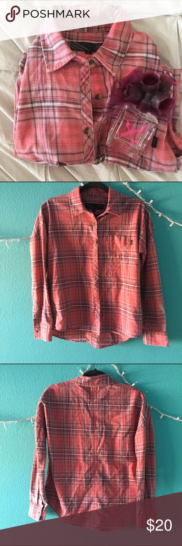 Fitted Flannel Peachy pink colored, only worn a couple times. In near perfect condition. This flannel is more fitted & structured than your typical soft & stretchy flannel. Use the offer button! *Check out the rest of my closet & bundle for a discount! Vans Tops Button Down Shirts