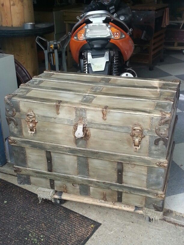 after photo of my steamer trunk i used annie sloan chalk paint to update this