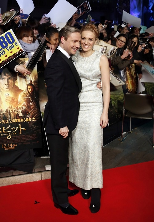 "Martin Freeman and Amanda Abbington at ""The Hobbit"" premiere in Japan----they are so freaking cute! ^_^"