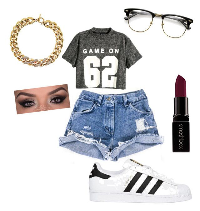 """""""Casual date"""" by jnbell on Polyvore featuring H&M, Michael Kors, adidas Originals, Smashbox, statefair and summerdate"""