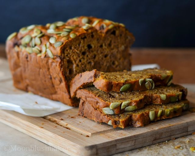 double baked pumpkin bread.