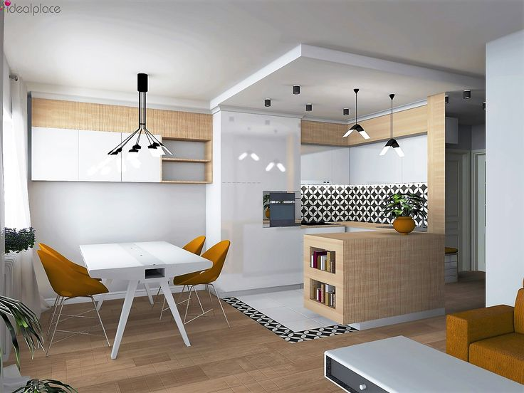 Projekt mieszkania. Chorzów. Salon z aneksem kuchennym. Płytki cementowe. Oświetlenie Xcellent Flight i UMBRELLA. #Xcellent