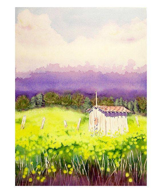 Landscape Art Painting Watercolor Print by WatercolorByMuren