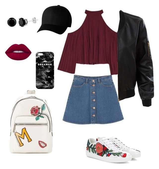 """""""High school idol"""" by emka-kruta on Polyvore featuring Marc Jacobs, Monki, W118 by Walter Baker, LE3NO, Gucci, Flexfit, Lime Crime and Mr. Gugu & Miss Go"""