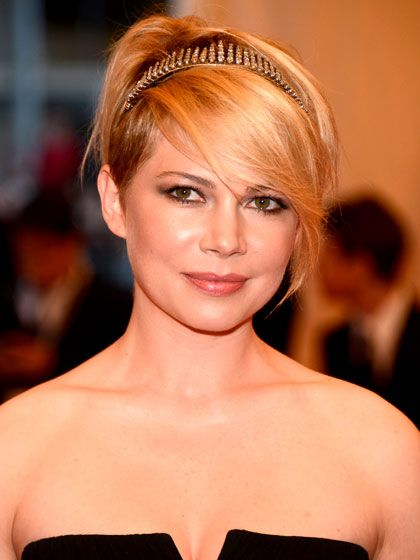 """""""EMBELLISHED HEADBAND Michelle Williams  This, ladies and gentlemen, is the right way to grow out a pixie. Equal parts edgy and luxurious, the Debbie Harry-inspired look Williams wore at the Met Gala is a perfect party option for anyone with short hair. To get it, hairstylist Chris McMillan teased Williams's hair before spraying it in place with Living Proof Hold Flexible Hairspray. """"I used my fingers to give it a lived-in, DIY look,"""" he says. The…"""""""