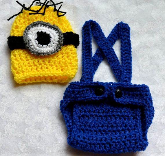 Crochet Patterns For Baby Overalls : Baby Boy Crochet Despicable Me Outfit. Newborn Halloween ...