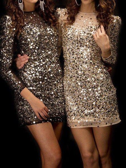 sequins gold and bronze dresses - so christmassy