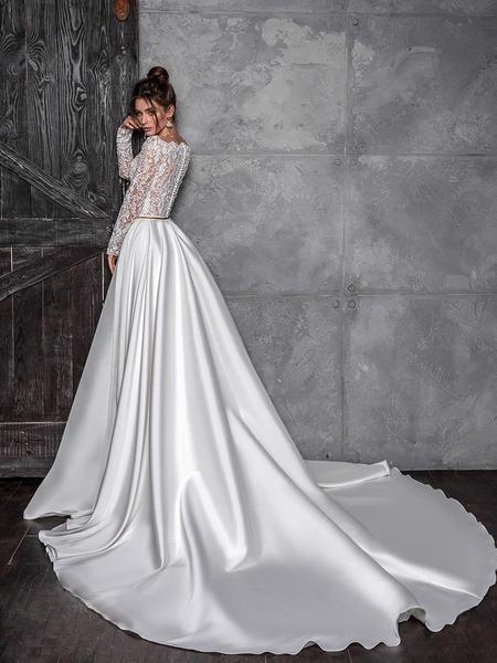 Lace Chapel A-Line Long Sleeve Garden / Wedding Dress