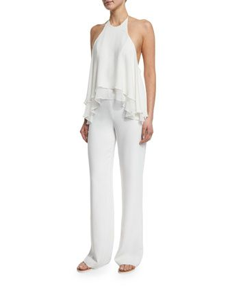 Baldwin Halter-Neck Jumpsuit, Ivory by Elizabeth and James at Neiman Marcus.