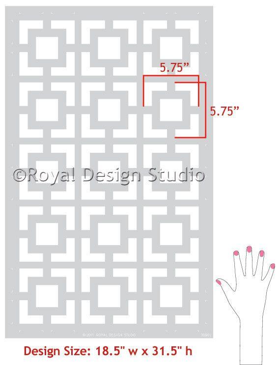 Modern and Retro Wall Decor - Geometric Wall Designs - Hollywood Squares Wall Stencils - Royal Design Studio