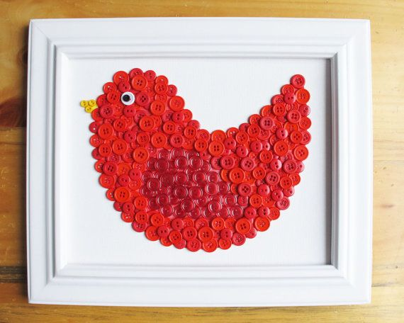 Bird Button Animal Red Canvas Panel 8x10 by HydeParkHome on Etsy, $25.00