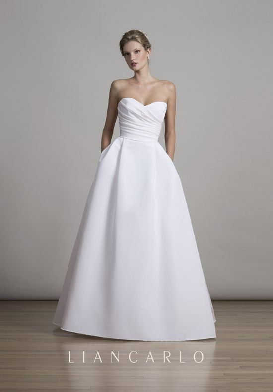 Silk faille sweetheart strapless ball gown with shirred bodice. Shown in Silk White.