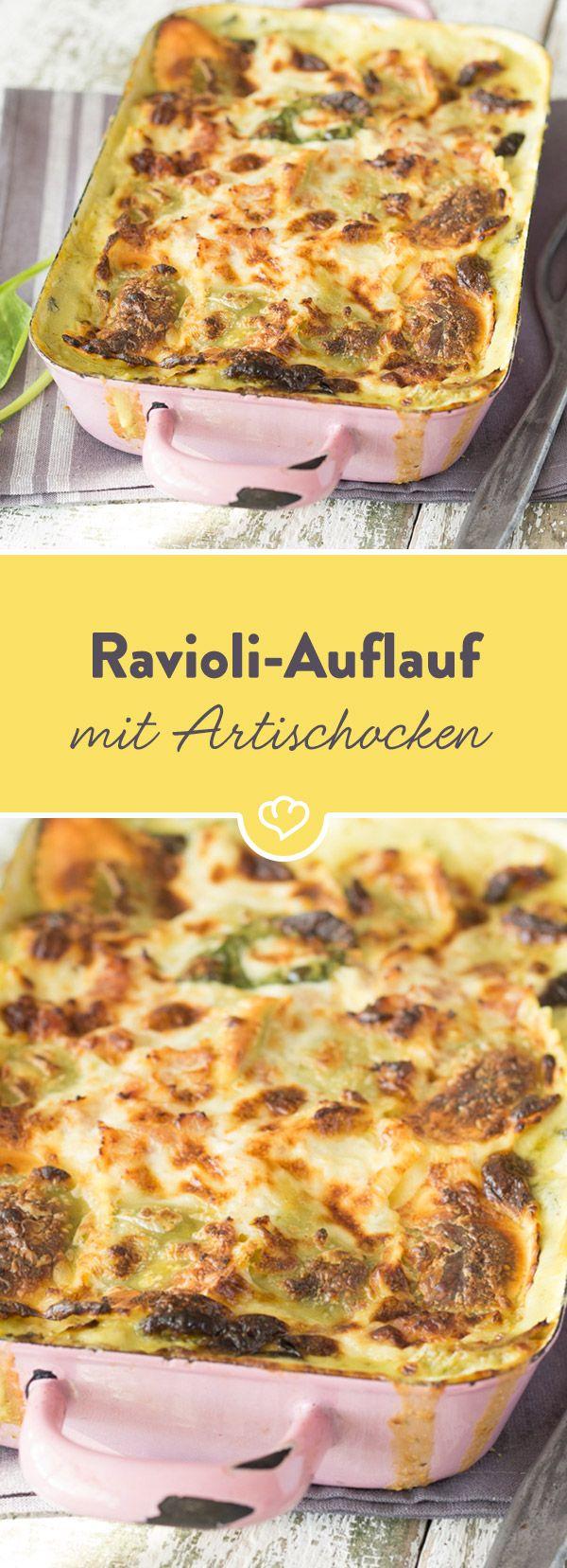 Ravioli, frischer Spinat, würzige Artischockenherzen, cremige Alfredosauce... und das Ganze dann noch überbacken aus dem Ofen? Her damit!
