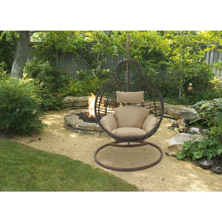 42 in. x 76 in. Mahogany Brown Rattan and Iron Suspended Pod Chair with Tan Cushions