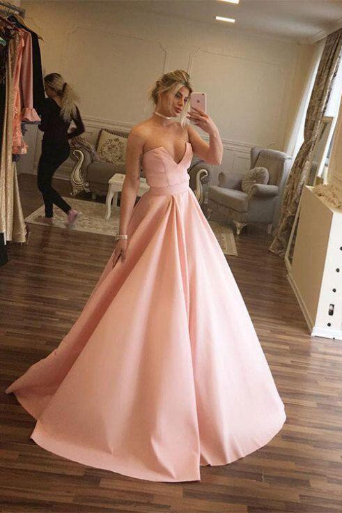 Unique Prom DressesBall Gown DressesStrapless DressPink