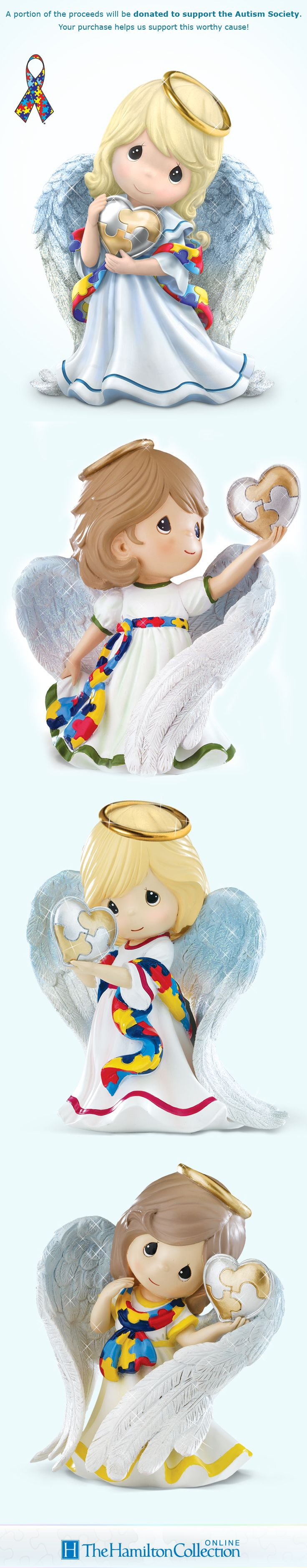 Share a sweet message of Autism support with this Precious Moments Heavenly Blessings Figurine Collection.