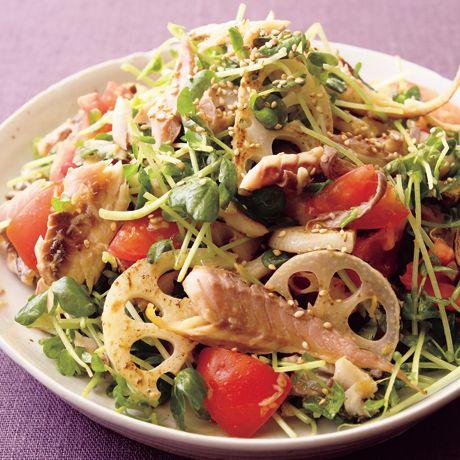 豆苗とれんこんの干ものサラダ | 市瀬悦子さんのサラダの料理レシピ | プロの簡単料理レシピはレタスクラブニュース