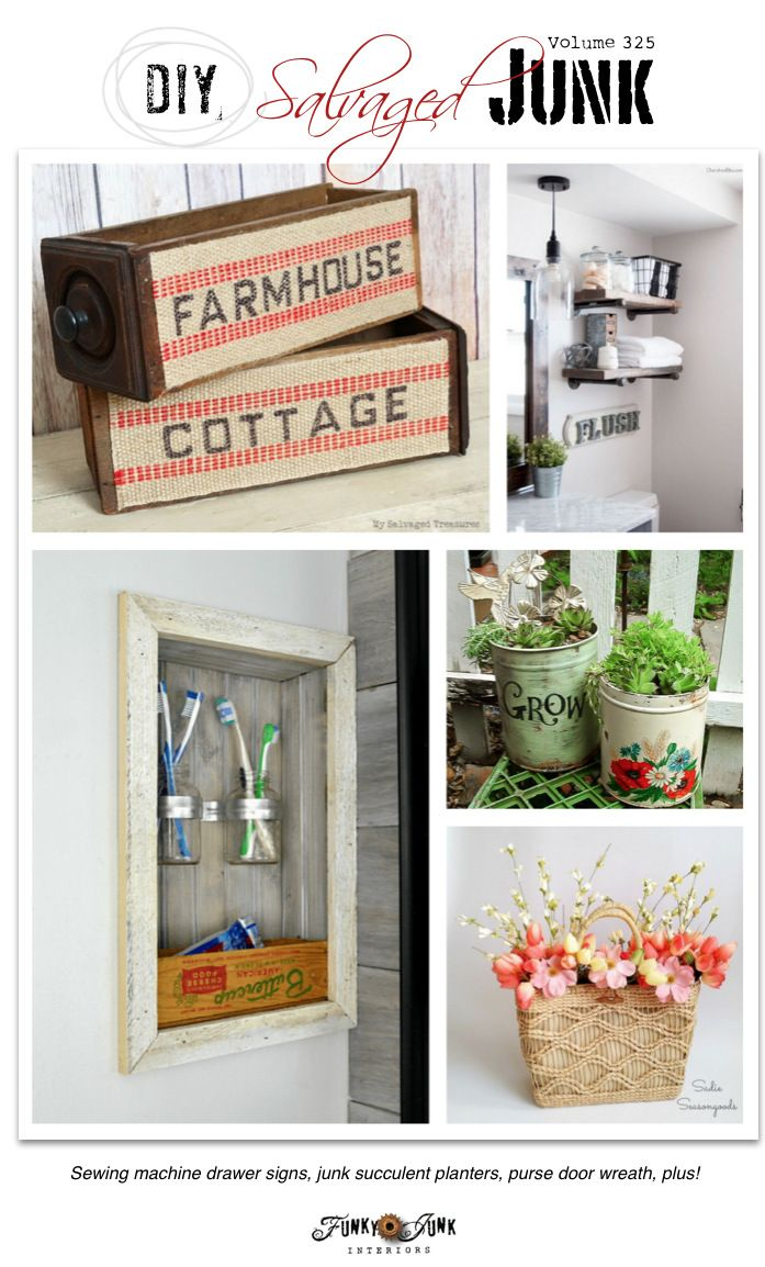 PJ 325 - DIY salvaged junk projects - vintage sewing machine drawer signs, junk succulent planters, purse wreath, built in reclaimed wood shelf, plus more!