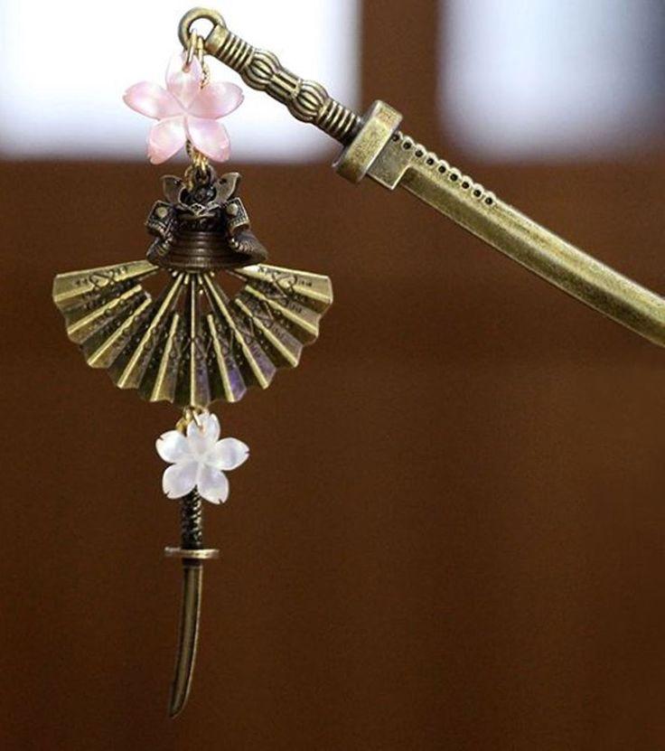 Japanese Hair Pin KANZASHI Natural SAKURA Shell Sword Stick Sengoku Kimono Japan