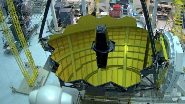 Image from live webcam - April 26, 2016 - of the James Webb Space Telescope, now under construction at Goddard Space Flight Center.