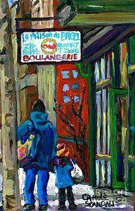 Bakery Painting - Mom And Tot Winter Walk For Bagels Montreal Paintings Canadian Art Snowscenes Carole Spandau by Carole Spandau
