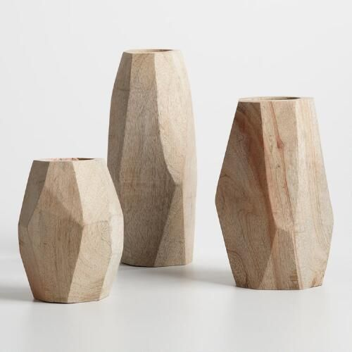 Natural Wood Faceted Vase Collection   World Market