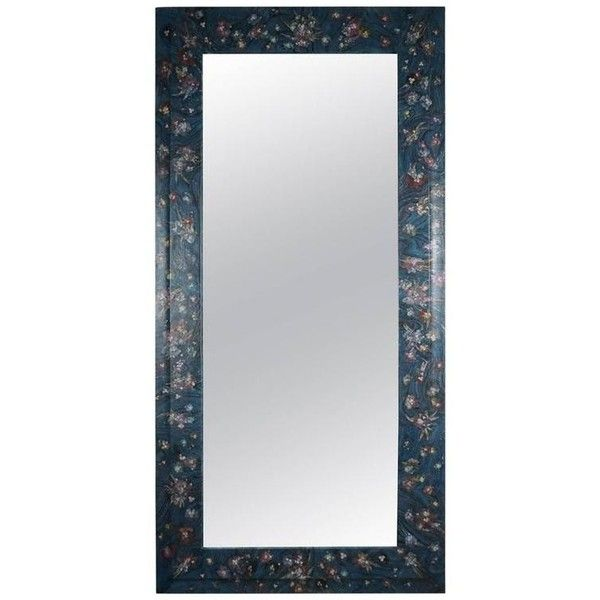 Full Length Decoupage Mirror In Blue ($3,000) ❤ liked on Polyvore featuring home, home decor, mirrors, blue, full length mirror, diamond home decor, flower mirror, jewelry mirror and blue home decor