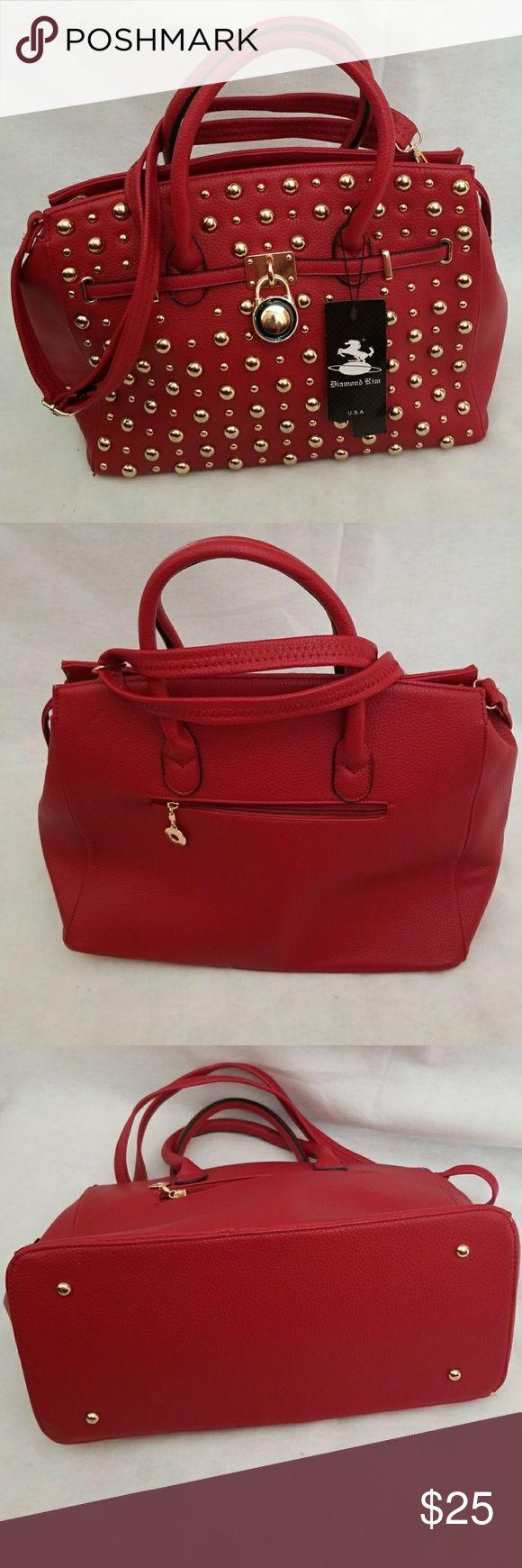 Beautiful Vegan lead-free Handbags Faux brick/ red leather, zip closure with gold tone hardware. Removable shoulder strap. Diamond Rim Bags Shoulder Bags
