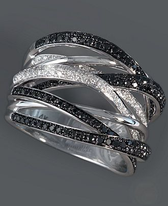 **Perfect Middle finger Ring** Caviar by Effy Collection 14k White Gold Ring, Black and White Diamond Ring (3/4 ct. t.w.) - Rings - Jewelry & Watches - Macy's