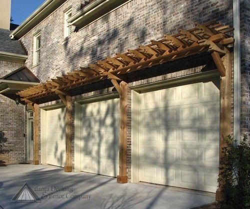 Hip Roof Pergola Over Garage Doors From Atlanta Decking: Cedar Pergola Over Garage Doors