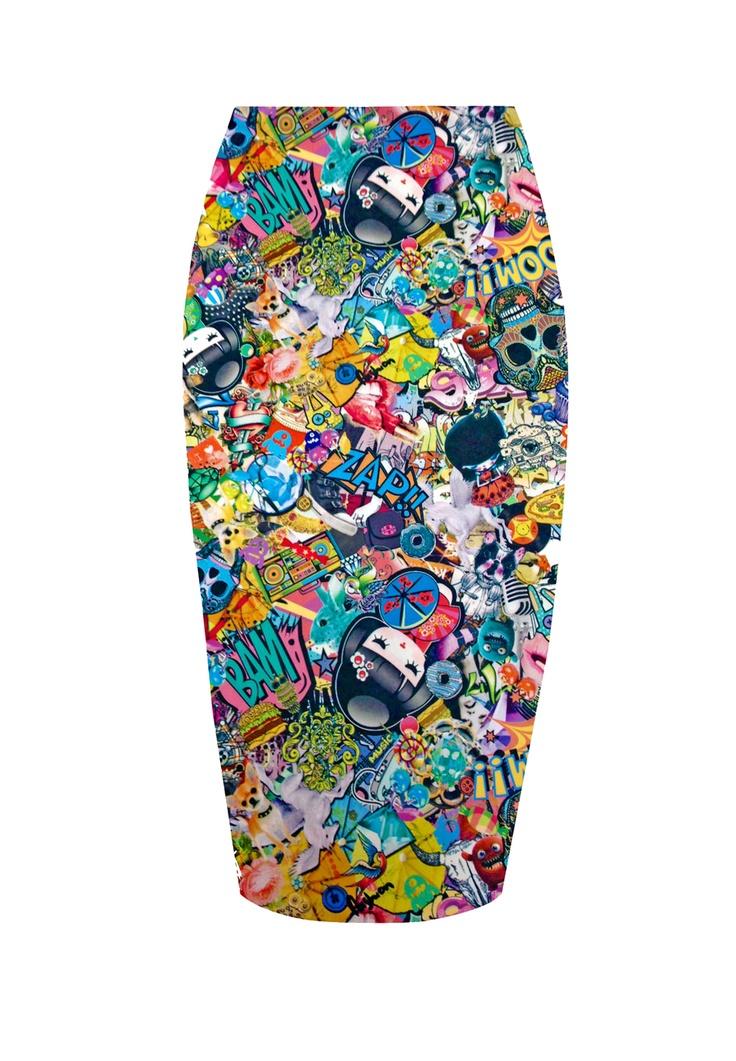 Larissa Pencil Skirt £12.99 http://www.prodigyred.com/p3677/larissa-cartoon-print-pencil-skirt-/product_info.html