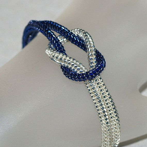 Midnight ... Beautiful beadwoven bracelet in gorgeous silver-lined navy blue and galvanized silver. Simple, chic, classic, and awesome! :-) $ 39