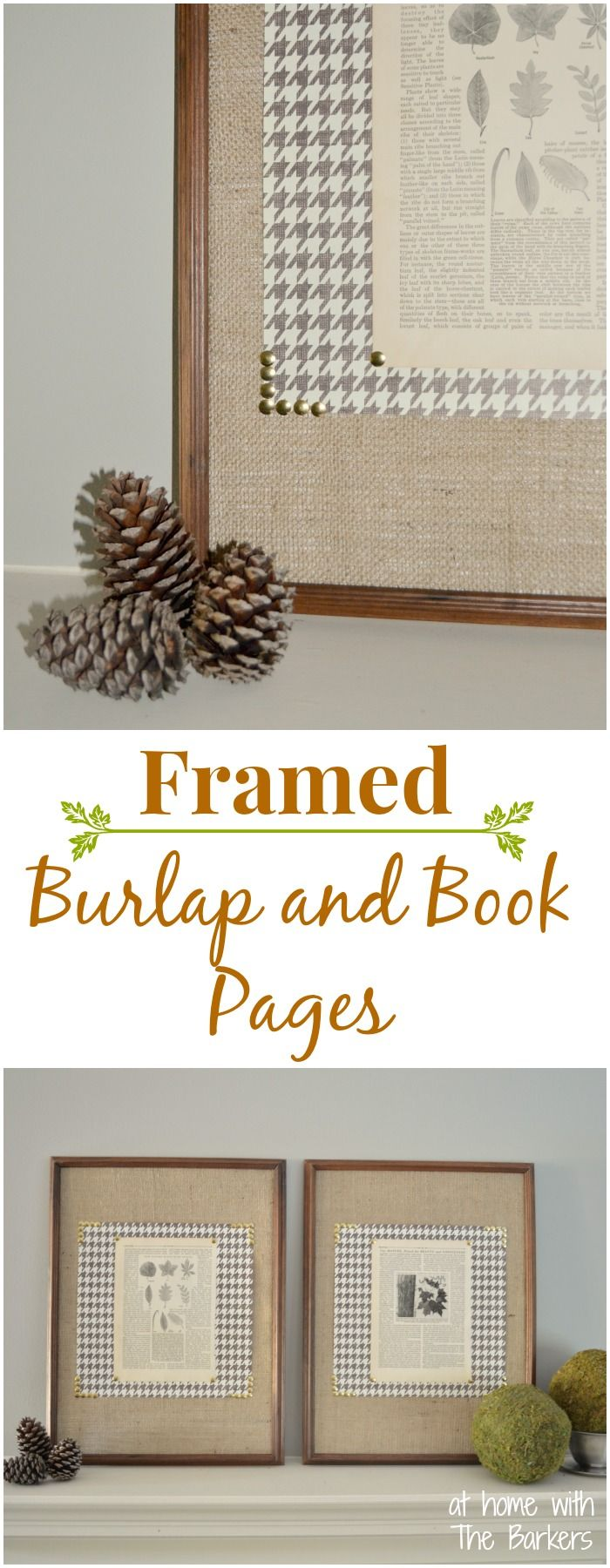 Easy DIY Fall Art with Burlap and Book Pages from a thrift store book.