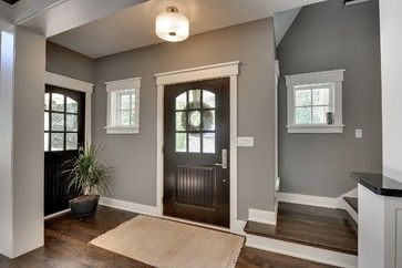 I am seriously crushing on this color.  Worried in a smaller space it would be too dark.  Thinking about this for my entertainment room...SW Pavestone  Minneapolis New Construction - entry - minneapolis - Highmark Builders
