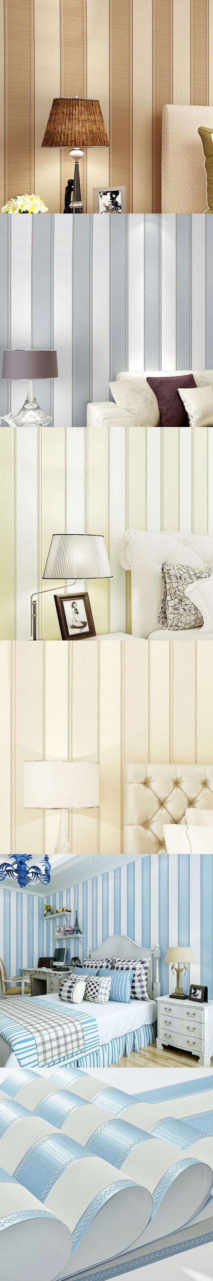Non Woven Wallpaper Modern Minimalist Vertical Stripes Flocking Wallpaper  Bedroom Living Room Stereo 3D Backdrop Wall Home Decor