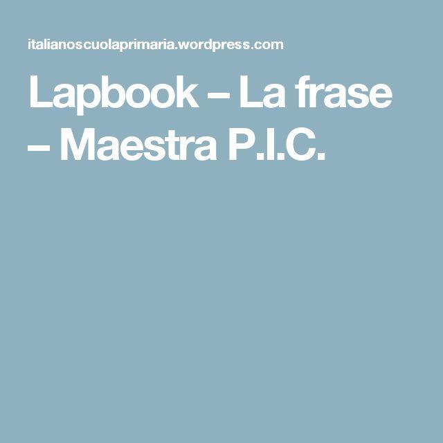 Lapbook – La frase – Maestra P.I.C.