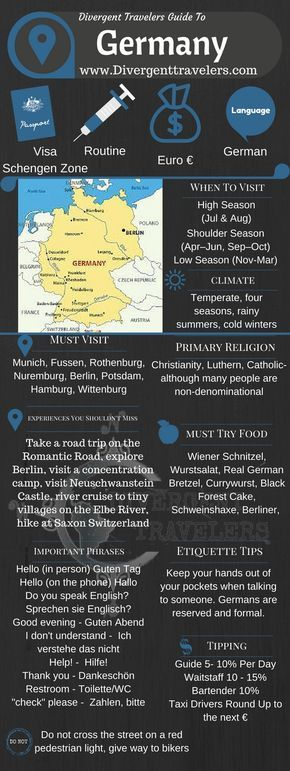Divergent Travelers Travel Guide, With Tips And Hints To Germany. This is your ultimate travel cheat sheet to the Germany. Click to see our full Germany Travel Guide from the Divergent Travelers Adventure Travel Blog and also read about all of the different adventures you can have in Germany at http://www.divergenttravelers.com/destinations/germany/